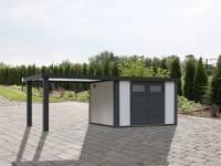 Wolff Finnhaus Metallhaus Eleganto 2724 mit 280 cm Seitendach links, weiß inkl. Dachrinne, Fallrohr