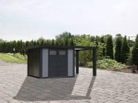 Wolff Finnhaus Metallhaus Eleganto 3024 lichtgrau inkl. 170 cm Seitendach rechts, Dachrinne und Fallrohr