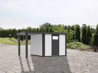 Wolff Finnhaus Metallhaus Eleganto 2424 mit 170 cm Seitendach links, weiß inkl. Dachrinne, Fallrohr
