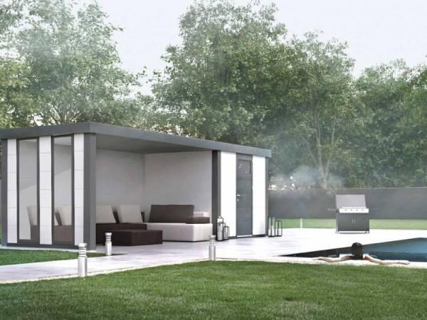 Wolff Finnhaus Metall-Gerätehaus Eleganto 2424 Weiß inkl. Lounge links mit 2 Fenstern, Dachrinne und Fallrohr