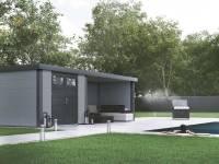 Wolff Finnhaus Metall-Gerätehaus Eleganto 2724 Lichtgrau inkl. Lounge rechts, Dachrinne und Fallrohr