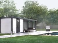 Wolff Finnhaus Metall-Gerätehaus Eleganto 2424 Weiß inkl. Lounge rechts mit 2 Fenstern, Dachrinne und Fallrohr