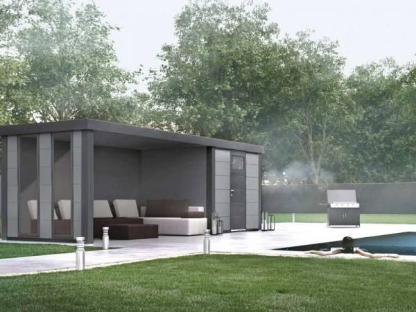Wolff Finnhaus Metall-Gerätehaus Eleganto 2424 Lichtgrau inkl. Lounge links mit 2 Fenstern, Dachrinne und Fallrohr