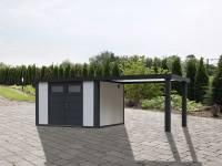 Wolff Finnhaus Metallhaus Eleganto 3024 weiß inkl. 280 cm Seitendach rechts, Dachrinne und Fallrohr