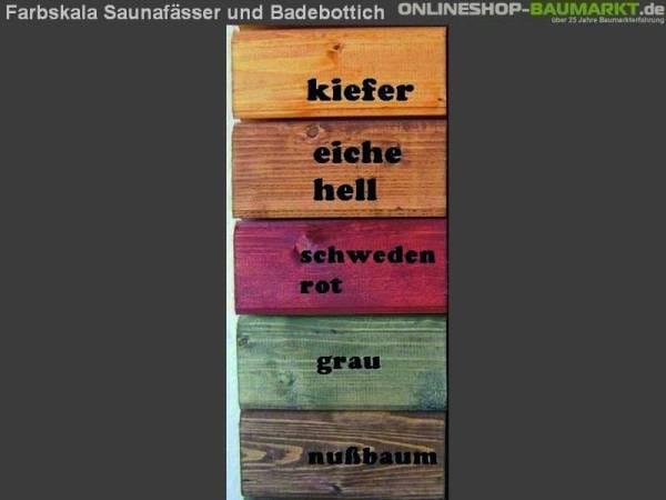 Wolff Finnhaus farbige Erstbehandlung Saunafass
