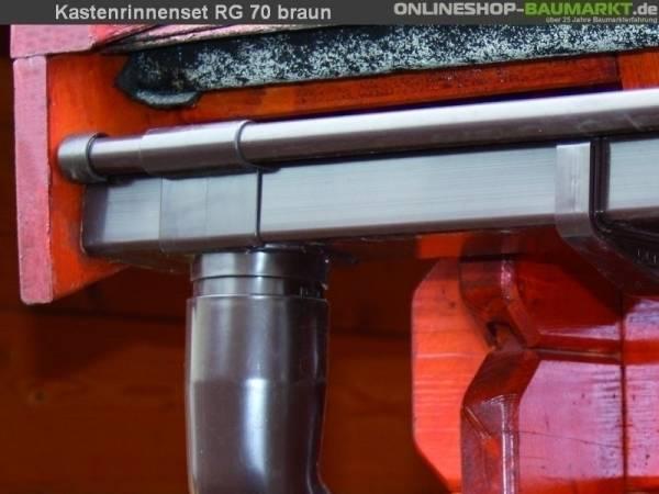 Dachrinnen Set RG 70 braun 550 cm zweiseitig