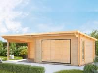 Wolff Gartenhaus Trondheim 70-D XL mit Schiebetür und Seitendach 300 cm Links