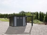 Wolff Finnhaus Metallhaus Eleganto 2724 mit 170 cm Seitendach rechts, lichtgrau inkl. Dachrinne, Fallrohr