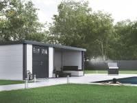Wolff Finnhaus Metall-Gerätehaus Eleganto 2724 Weiß inkl. Lounge rechts, Dachrinne und Fallrohr