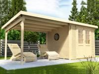 Wolff Finnhaus Pulti Softline 3030 in natur mit Seitendach 300 cm