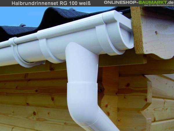 Dachrinnen Set RG 100 weiß 800 cm zweiseitig