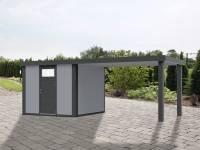 Wolff Finnhaus Metallhaus Eleganto 2424 mit 280 cm Seitendach rechts, lichtgrau inkl. Dachrinne, Fallrohr