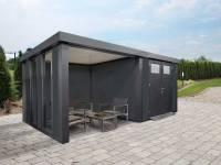 Wolff Finnhaus Metallhaus Eleganto 3024 Granitgrau inkl. Dachrinne und Fallrohr mit Lounge links, inkl. 2 Fenster