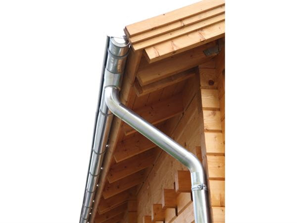 Wolff Finnhaus Alu-Rundrinne für Satteldach bis 1000 cm mit 2 Fallrohren