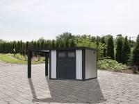 Wolff Finnhaus Metallhaus Eleganto 3024 weiß inkl. 170 cm Seitendach links, Dachrinne und Fallrohr