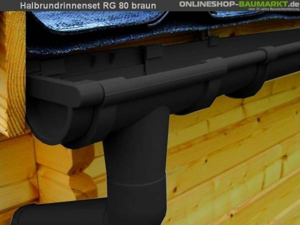 Dachrinnen Set RG 80 braun 8 x 200 cm 8-Eck-Dach