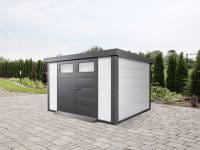 Wolff Finnhaus Metall-Gerätehaus Eleganto 3024 Weiß inkl. Dachrinne und Fallrohr