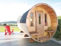 Wolff Finnhaus Saunafass 400 2-Raum montiert