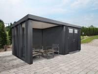 Wolff Finnhaus Metall-Gerätehaus Eleganto 2724 Granitgrau inkl. Lounge links mit 2 Fenstern, Dachrinne und Fallrohr